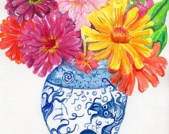 Original Zinnia watercolor painting  original,  zinnias in blue and white vase, zinnia wall art,  watercolor flowers zinnias painting floral