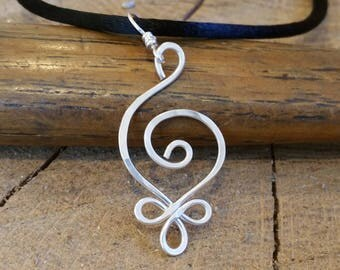 Budding Spiral Necklace, Celtic Sterling Silver Pendant, Celtic Jewelry, Celtic Necklace, Hammered Silver Wire Jewelry, Gift for Women