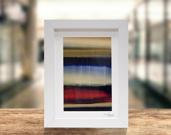 Red, Yellow, Blue Modern Print on Metal, Framed Abstract Accent, Contemporary Desk Decor, Metal Wall Art, Gifts For Him by Jon Allen - G