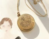 Antique Edwardian locket | early 1900's gold filled round floral flower locket | engraved locket necklace | anniversary gift for her