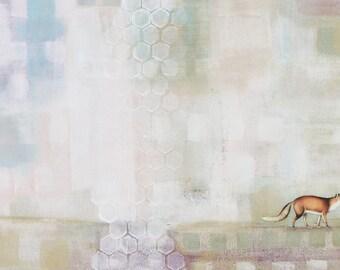 Fox Painting- Abstract Wall Artwork, Original Canvas Art Animal Paintings for Nursery