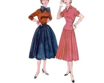 50s uncut Full Skirt Suit pattern Hourglass New Look Jacket pattern vintage 34-28-37 fit and flare Pussy Bow Blouse patternSimplicity 3969