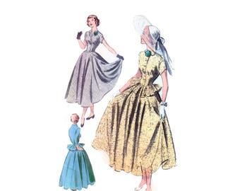 50s Full Skirt Dress Pattern New Look pattern 28-23.5-31 Vintage Pattern New Look Dress pattern Peplum Dress pattern advance 5499