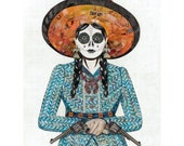 Adelita Cowgirl Original Paper Collage