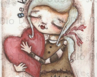 Print of my Original Whimsical Girl Art Mixed Media Painting - Gently