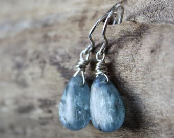 kyanite earrings, blue stone earrings, sterling silver teardrop earrings, rustic gift for wife girlfriend mom