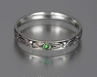 AUGUSTIN sterling silver band with Tsavorites