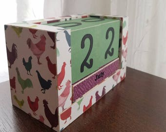 Country Kitchen Hens and Roosters - Perpetual Wooden Block Calendar - Handmade Gifts - Gifts Under 25 - Farm Kitchen - Ready to Ship