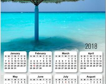 "Lucious Tropical Beach Vacation 2018 Full Year View 8"" Calendar - Magnet or Wall #3829"