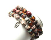 Rustic Stretch Bracelet Set Leopardskin Jasper Mookaite Czech Glass Triple Stacker Picasso Amber with Silver Feather Charm Power of Three