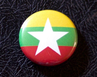 "1"" Myanmar flag button, Burma, country, pin, badge, pinback, Made in USA"