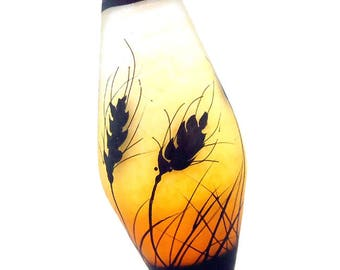 Wheat silhouettes on golden orange fade, handmade lampwork glass bead focal by JC Herrell
