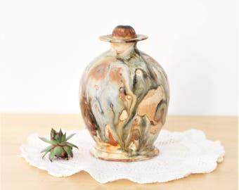 Vintage Studio Textured Ceramic Drip Glaze Pottery,Mid Century Modern Lidded Jar, lidded ceramic pot, apothecary jar, vintage studio pottery