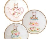 Friends for Tea Collection - Hand Embroidery Bunny Pattern - 3 for price of 2