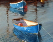 Blue Boats, Teignmouth, Devon, landscape oil painting, direct from artist