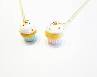 cupcake necklace, tiny sprinkles vanilla cupcake jewelry, choose pastel pink or pastel blue liner