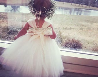 Ivory Flower Girl Dress, flower girl dress white, flower girl lace, flower girl dress boho, flower girl tulle tutu,