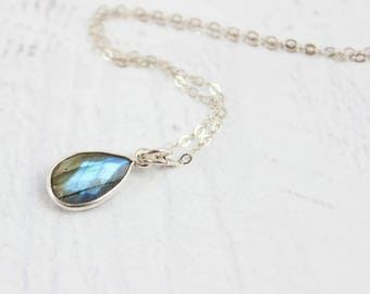 Labradorite Gemstone Necklace, Teardrop Pendant, Dainty Jewelry, Cable Chain, Sterling Silver, Gift for Her, Dangle Bezel, Drop, Small