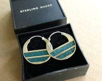 Sterling Silver Inlaid Turquoise Earrings, Vintage Navajo Half Disc Hoops, Hallmarked IC Irvin Chee Native American Jewelry