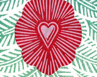 Heart Print ACEO Milagro Christmas Tree Ornament