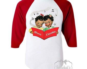 Christmas Shirt - African American Christmas Shirt - Merry Christmas Choir Girl Shirt - Retro Music Christmas Shirt - Red White Baseball