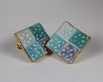 Square Earrings with Jewel Tone Flower Design Handmade Porcelain Ceramic Jewelry