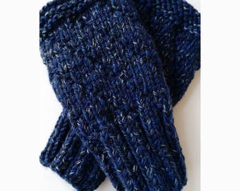 TWEEDY BLUE Darting Diagonals Fingerless Gloves, Merino Wool Knit Mitts / Gauntlets for Men and Women, Unisex, Mitts, Mittens, Texting