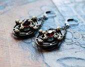 Galaxy - Red Vintage Deco Earrings - Red Rhinestone Earrings - Galaxy Star Earrings