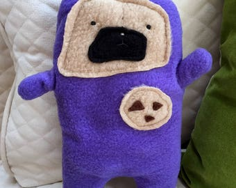 """Wilbur - The """"Snackie Time"""" Pug-Jama Party Bummlie ~ Stuffing Free Dog Toy - Ready To Ship Today ~ Lavendar Pajamas"""