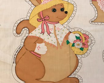 Vintage Fabric Panel to sew a Kangaroo Pillow 1980's sew and stuff fabric panel