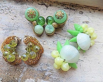 FREE SHIPPING Vintage Lot Clip Earrings Destash Green Gold White