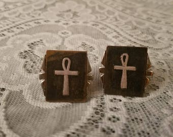 Vintage 1960's Swank Egyptian Ankh Cufflinks, Carved Stone