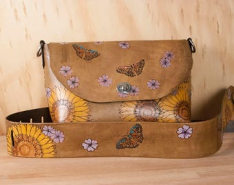 Brown Leather Crossbody Bag - Sunflower pattern with flowers, butterflies and ladybugs - yellow and antique brown - Guitar strap purse strap