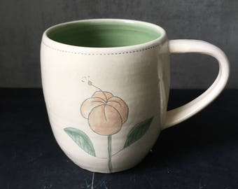 Sketched hibiscus mug - READY TO SHIP