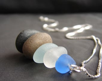 Sea Stack beach glass necklace / beach pebble jewelry / beach stone necklace / ocean cairn necklace / organic style / cornflower blue
