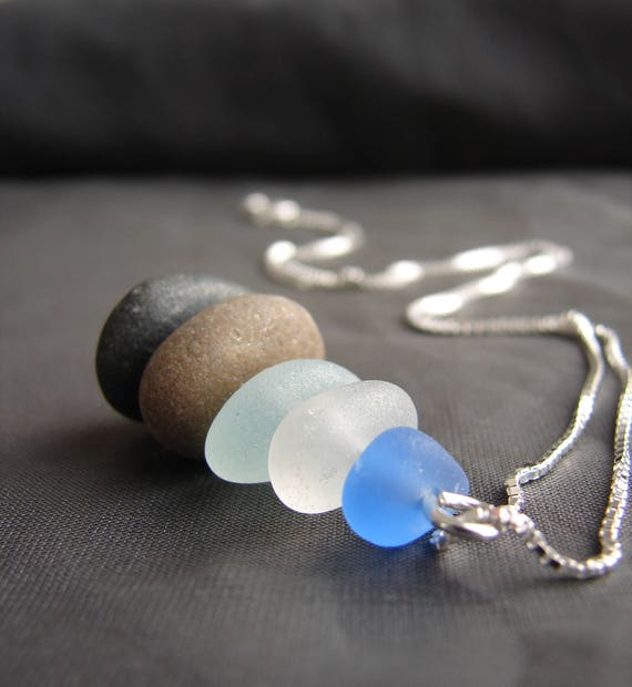 Sea Stack beach pebble and sea glass necklace in shades of blue