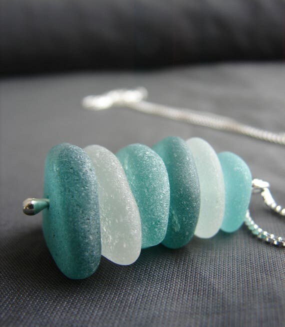 Sea Stack sea glass necklace in aqua, olive, teal and white