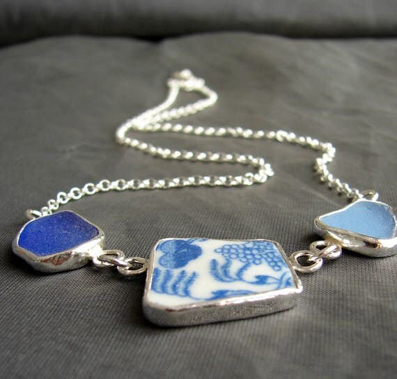 Sea Sisters blue sea glass and sea pottery necklace