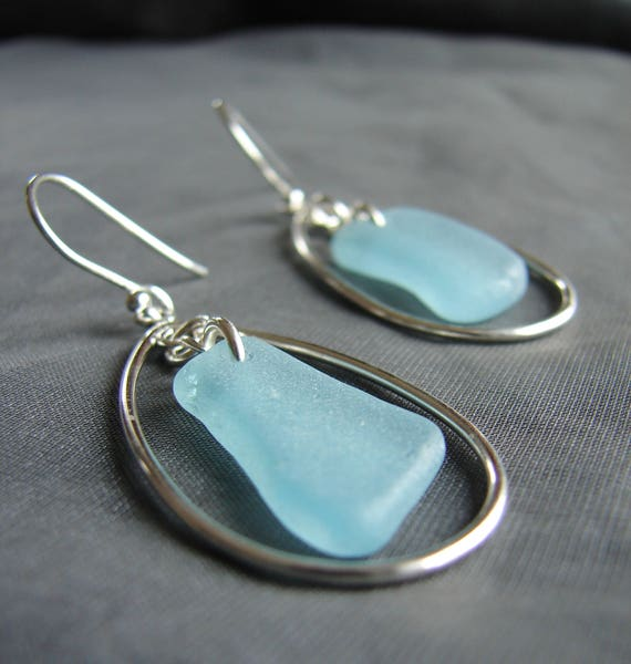 Sea Keeper beach glass earrings in aqua