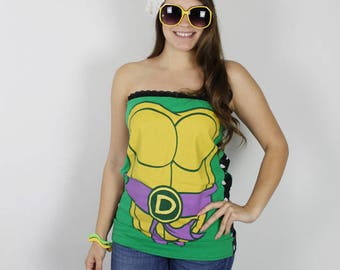 L Teenage Mutant Ninja Turtles Shirt - TMNT Tube Top - Handmade TMNT Shirt - Womens 90s Shirt - Womens Large TMNT Shirt