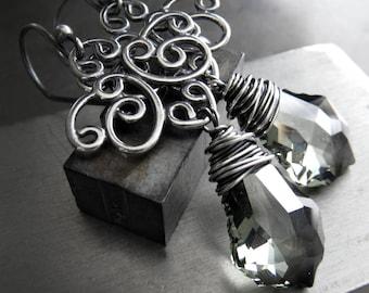 Swarovski Black Diamond Crystal Chandelier Earrings, Wire Wrapped Oxidized Silver, Antiqued Silver Filigree Chandelier Goth Gothic Earrings