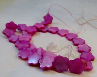 Fuchsia Dyed Mother-of-Pearl Shell Flower Beads, 15mm, 16-inch strand, Wholesale Beads