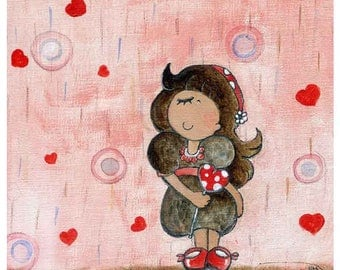 girl nursery art, whimsical art, gifts for girl, pink wall, red heart, girl room decorations, gifts for god daughter, shower with love, A4