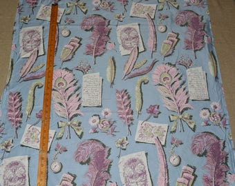 VINTAGE novelty fabric 1940s novelty cotton sateen peacock feathers pastel blue pink