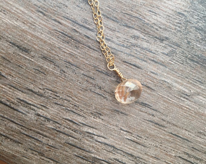 Gold Filled Golden Quartz Delicate Dainty Littles Necklace