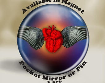 Winged Heart Magnet, Pin or Pocket Mirror, Gothic Winged Heart, Anatomical Heart, Large Winged Heart, Gothic Wedding Favor
