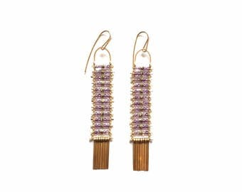 SALE Amethyst and Gold Earrings