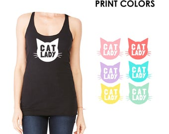 Cat Lady Black Racerback Tank Top - Family Photos, Cat Obsesses, Meow, Kitty, Cat Mom, Gift for her, Mommy and Me, Matching, Cat Fan, Animal