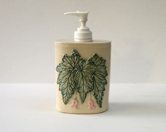 Begonia Soap Dispenser / Handmade Pottery Pump Jar