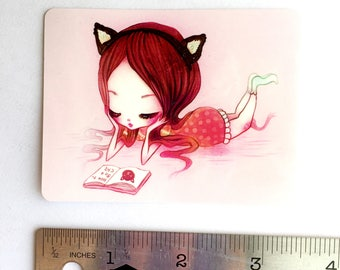 How to Be a Cat - Sticker - 2.5 in x 3.5 in cat kawaii girl big eyes pink cute book kitty art